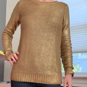 Rock & Republic Shiny Gold Sweater XS